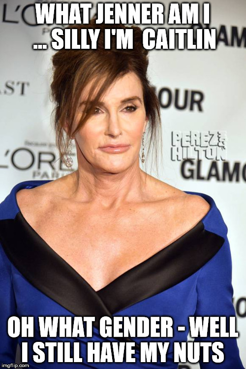 transgender commitment | WHAT JENNER AM I ... SILLY I'M  CAITLIN OH WHAT GENDER - WELL I STILL HAVE MY NUTS | image tagged in caitlyn jenner,bruce jenner,balls,gender,transgender | made w/ Imgflip meme maker