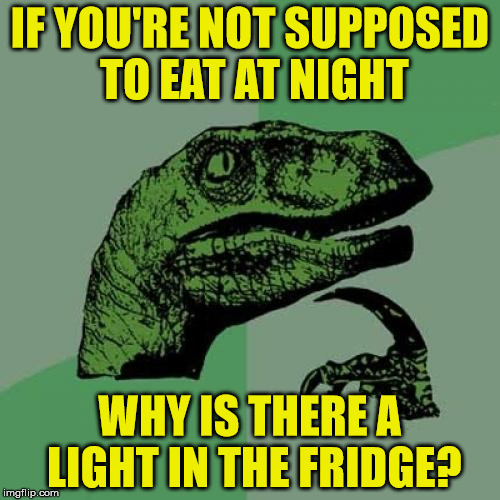 What's the point? I can see inside my fridge during the day, I don't need a light | IF YOU'RE NOT SUPPOSED TO EAT AT NIGHT WHY IS THERE A LIGHT IN THE FRIDGE? | image tagged in memes,philosoraptor,fridge,midnight feast,light,eating | made w/ Imgflip meme maker