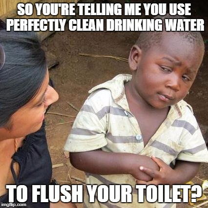 Third World Skeptical Kid Meme | SO YOU'RE TELLING ME YOU USE PERFECTLY CLEAN DRINKING WATER TO FLUSH YOUR TOILET? | image tagged in memes,third world skeptical kid | made w/ Imgflip meme maker