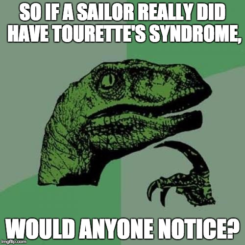 Philosoraptor Meme | SO IF A SAILOR REALLY DID HAVE TOURETTE'S SYNDROME, WOULD ANYONE NOTICE? | image tagged in memes,philosoraptor | made w/ Imgflip meme maker