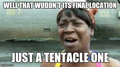Aint Nobody Got Time For That Meme | WELL THAT WUDDN'T ITS FINAL LOCATION JUST A TENTACLE ONE | image tagged in memes,aint nobody got time for that | made w/ Imgflip meme maker
