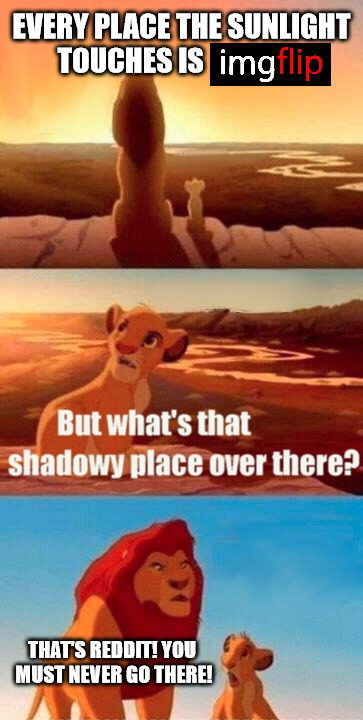 if you've been there you will understand | EVERY PLACE THE SUNLIGHT TOUCHES IS THAT'S REDDIT! YOU MUST NEVER GO THERE! | image tagged in memes,simba shadowy place,imgflip,reddit | made w/ Imgflip meme maker