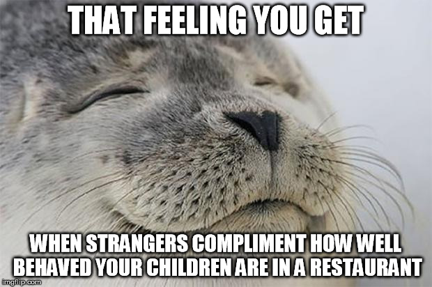 Satisfied Seal Meme | THAT FEELING YOU GET WHEN STRANGERS COMPLIMENT HOW WELL BEHAVED YOUR CHILDREN ARE IN A RESTAURANT | image tagged in memes,satisfied seal,AdviceAnimals | made w/ Imgflip meme maker