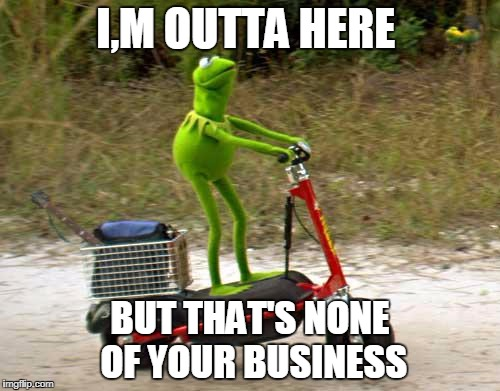 Kermit scooter | I,M OUTTA HERE BUT THAT'S NONE OF YOUR BUSINESS | image tagged in kermit scooter | made w/ Imgflip meme maker