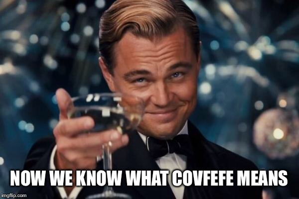 Leonardo Dicaprio Cheers Meme | NOW WE KNOW WHAT COVFEFE MEANS | image tagged in memes,leonardo dicaprio cheers | made w/ Imgflip meme maker