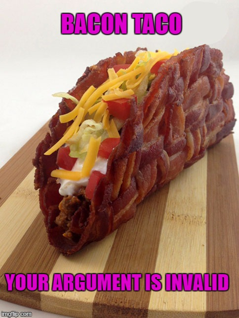 BACON TACO YOUR ARGUMENT IS INVALID | image tagged in bacon taco | made w/ Imgflip meme maker