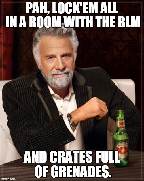 The Most Interesting Man In The World Meme | PAH, LOCK'EM ALL IN A ROOM WITH THE BLM AND CRATES FULL OF GRENADES. | image tagged in memes,the most interesting man in the world | made w/ Imgflip meme maker