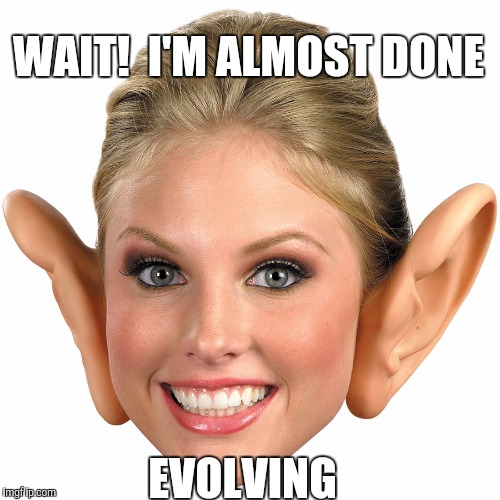 Memes, Big Ear Girl | WAIT!  I'M ALMOST DONE EVOLVING | image tagged in memes,big ear girl | made w/ Imgflip meme maker