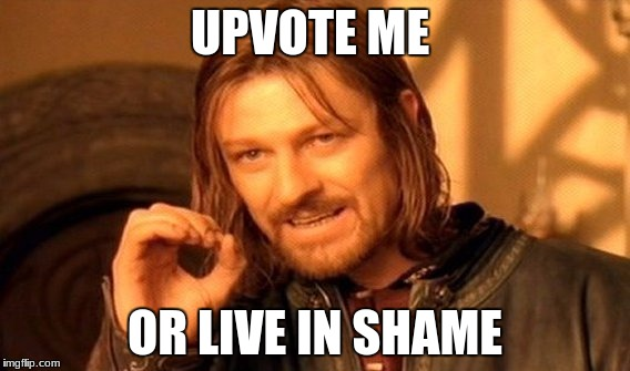 One Does Not Simply Meme | UPVOTE ME OR LIVE IN SHAME | image tagged in memes,one does not simply | made w/ Imgflip meme maker