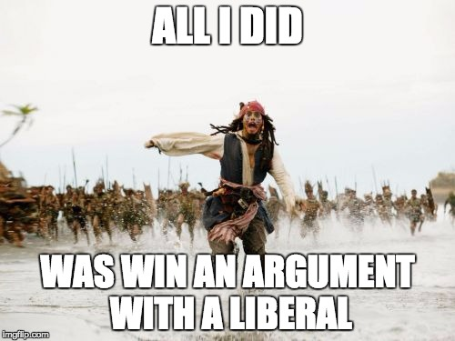 Jack Sparrow Being Chased Meme | ALL I DID WAS WIN AN ARGUMENT WITH A LIBERAL | image tagged in memes,jack sparrow being chased | made w/ Imgflip meme maker