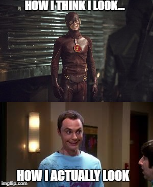 HOW I THINK I LOOK... HOW I ACTUALLY LOOK | image tagged in sheldon cooper smile | made w/ Imgflip meme maker