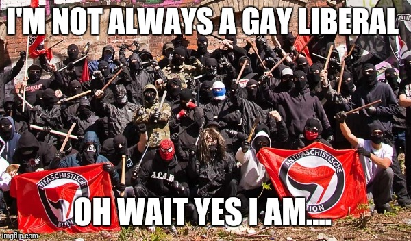 I'M NOT ALWAYS A GAY LIBERAL OH WAIT YES I AM.... | image tagged in antifa | made w/ Imgflip meme maker