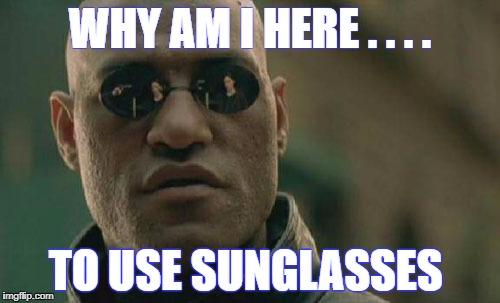 Matrix Morpheus Meme | WHY AM I HERE . . . . TO USE SUNGLASSES | image tagged in memes,matrix morpheus | made w/ Imgflip meme maker