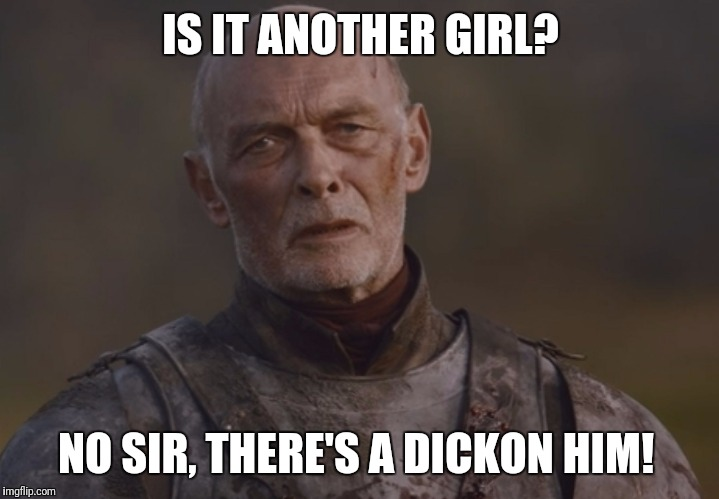 Tarley |  IS IT ANOTHER GIRL? NO SIR, THERE'S A DICKON HIM! | image tagged in tarley | made w/ Imgflip meme maker