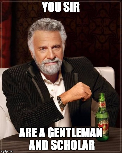 YOU SIR ARE A GENTLEMAN AND SCHOLAR | image tagged in memes,the most interesting man in the world | made w/ Imgflip meme maker