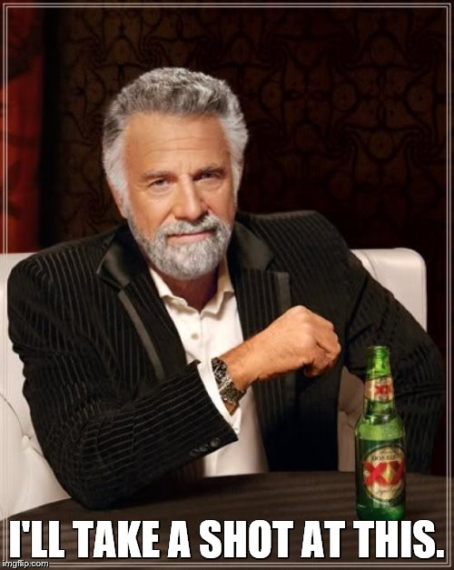 The Most Interesting Man In The World Meme | I'LL TAKE A SHOT AT THIS. | image tagged in memes,the most interesting man in the world | made w/ Imgflip meme maker