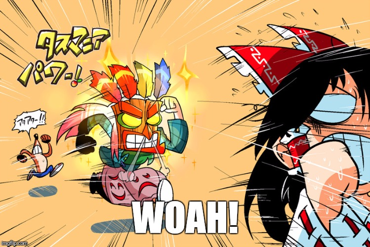 WOAH! | image tagged in touhou_crash_bandicoot | made w/ Imgflip meme maker