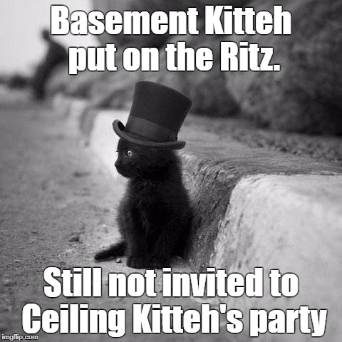 Kittey not invited to party. | Basement Kitteh put on the Ritz. Still not invited to Ceiling Kitteh's party | image tagged in cats | made w/ Imgflip meme maker