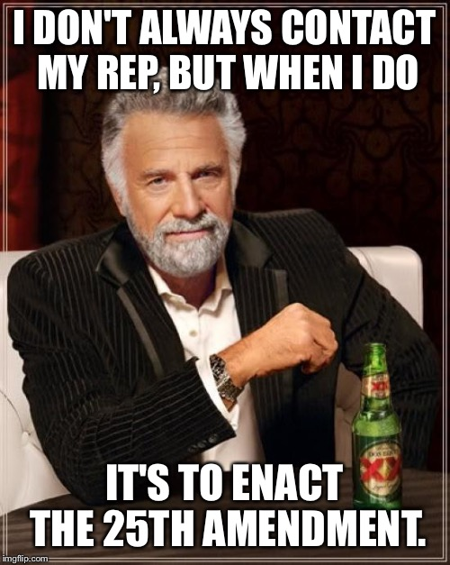 The Most Interesting Man In The World Meme | I DON'T ALWAYS CONTACT MY REP, BUT WHEN I DO IT'S TO ENACT THE 25TH AMENDMENT. | image tagged in memes,the most interesting man in the world | made w/ Imgflip meme maker