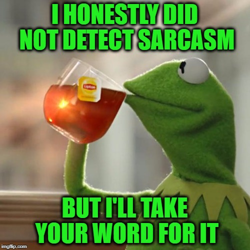 But Thats None Of My Business Meme | I HONESTLY DID NOT DETECT SARCASM BUT I'LL TAKE YOUR WORD FOR IT | image tagged in memes,but thats none of my business,kermit the frog | made w/ Imgflip meme maker