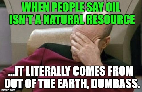 Captain Picard Facepalm Meme | WHEN PEOPLE SAY OIL ISN'T A NATURAL RESOURCE ...IT LITERALLY COMES FROM OUT OF THE EARTH, DUMBASS. | image tagged in memes,captain picard facepalm,politics,political meme,political,climate change | made w/ Imgflip meme maker