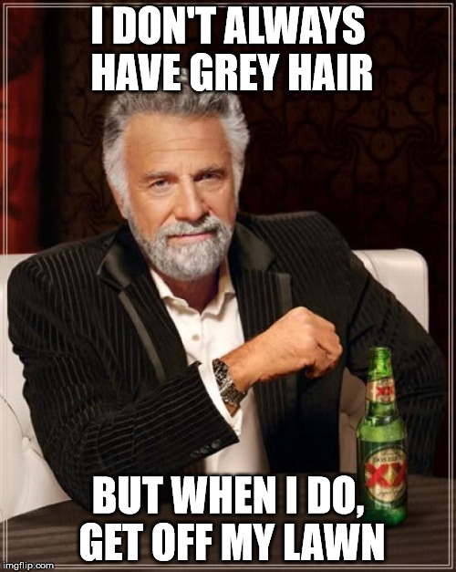 Grey Hair Lawn Deterrent  | I DON'T ALWAYS HAVE GREY HAIR BUT WHEN I DO, GET OFF MY LAWN | image tagged in memes,the most interesting man in the world,grey hair,lawn | made w/ Imgflip meme maker