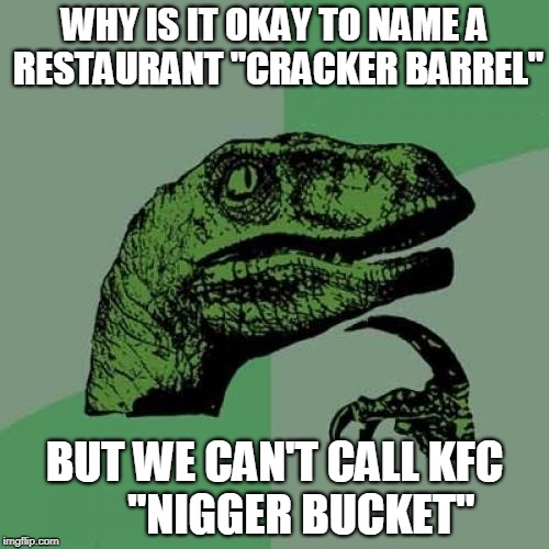 "Philosoraptor Meme | WHY IS IT OKAY TO NAME A RESTAURANT ""CRACKER BARREL"" BUT WE CAN'T CALL KFC      ""NI**ER BUCKET"" 