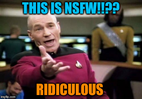 Picard Wtf Meme | THIS IS NSFW!!?? RIDICULOUS | image tagged in memes,picard wtf | made w/ Imgflip meme maker