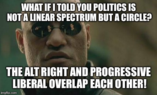 Matrix Morpheus Meme | WHAT IF I TOLD YOU POLITICS IS NOT A LINEAR SPECTRUM BUT A CIRCLE? THE ALT RIGHT AND PROGRESSIVE LIBERAL OVERLAP EACH OTHER! | image tagged in memes,matrix morpheus | made w/ Imgflip meme maker