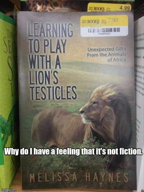 Making him feel like he's the king of the jungle.  | Why do I have a feeling that it's not fiction. | image tagged in funny cats,books,lions,testicles | made w/ Imgflip meme maker