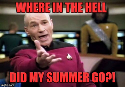 Picard Wtf Meme | WHERE IN THE HELL DID MY SUMMER GO?! | image tagged in memes,picard wtf | made w/ Imgflip meme maker