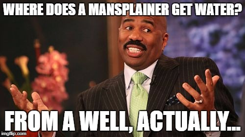 Steve Harvey Meme | WHERE DOES A MANSPLAINER GET WATER? FROM A WELL, ACTUALLY... | image tagged in memes,steve harvey | made w/ Imgflip meme maker