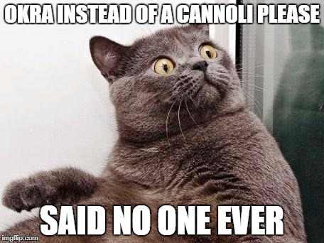 Surprised cat | OKRA INSTEAD OF A CANNOLI PLEASE SAID NO ONE EVER | image tagged in surprised cat | made w/ Imgflip meme maker