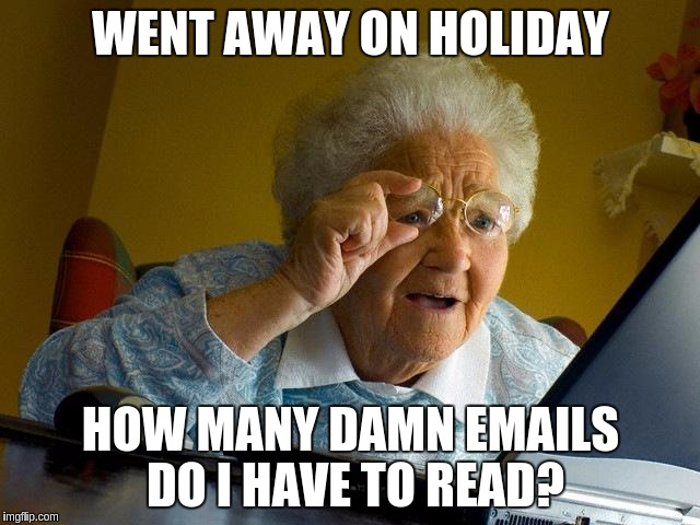 doing email after going on holiday | WENT AWAY ON HOLIDAY HOW MANY DAMN EMAILS DO I HAVE TO READ? | image tagged in grandma finds the internet,email,holiday | made w/ Imgflip meme maker