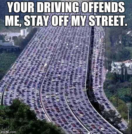 worlds biggest traffic jam | YOUR DRIVING OFFENDS ME, STAY OFF MY STREET. | image tagged in worlds biggest traffic jam | made w/ Imgflip meme maker