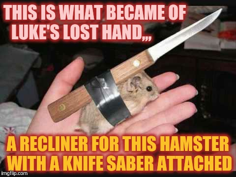 Lock and Load Hamster | THIS IS WHAT BECAME OF LUKE'S LOST HAND,,, A RECLINER FOR THIS HAMSTER WITH A KNIFE SABER ATTACHED | image tagged in lock and load hamster | made w/ Imgflip meme maker