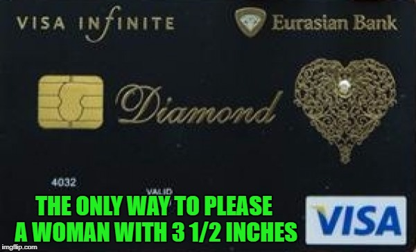 Credit cards are evil but they sure come in handy!!! | THE ONLY WAY TO PLEASE A WOMAN WITH 3 1/2 INCHES | image tagged in visa card,memes,3 1/2 inches,funny,visa,credit card | made w/ Imgflip meme maker