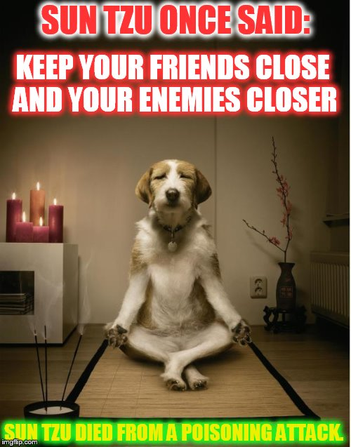 Never forget that any advice is also a meme ... | SUN TZU ONCE SAID: KEEP YOUR FRIENDS CLOSE AND YOUR ENEMIES CLOSER SUN TZU DIED FROM A POISONING ATTACK. | image tagged in dog meditation funny,sun tzu,proverb | made w/ Imgflip meme maker