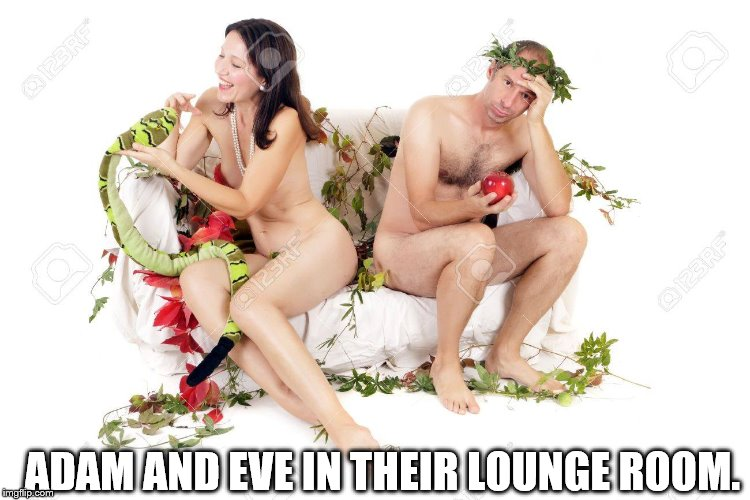 Adam and Eve | ADAM AND EVE IN THEIR LOUNGE ROOM. | image tagged in adam,eve,lounge,apple,serpent | made w/ Imgflip meme maker