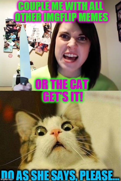 Oh, my, a situation... | COUPLE ME WITH ALL OTHER IMGFLIP MEMES OR THE CAT GET'S IT! DO AS SHE SAYS, PLEASE... | image tagged in overly attached girlfriend knife,scared cat | made w/ Imgflip meme maker