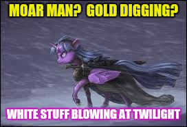 MOAR MAN?  GOLD DIGGING? WHITE STUFF BLOWING AT TWILIGHT | made w/ Imgflip meme maker
