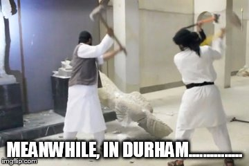 protesters | MEANWHILE, IN DURHAM............... | image tagged in protest | made w/ Imgflip meme maker