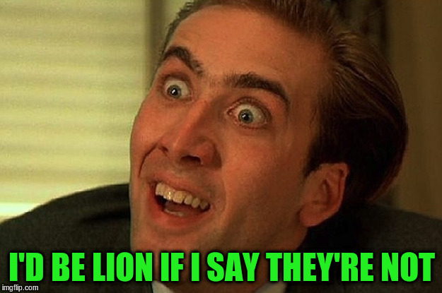 I'D BE LION IF I SAY THEY'RE NOT | made w/ Imgflip meme maker