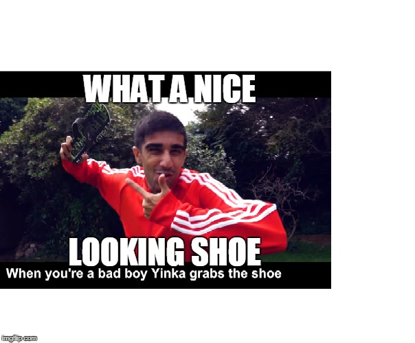 SHOE | WHAT A NICE LOOKING SHOE | image tagged in moma got new shoes | made w/ Imgflip meme maker