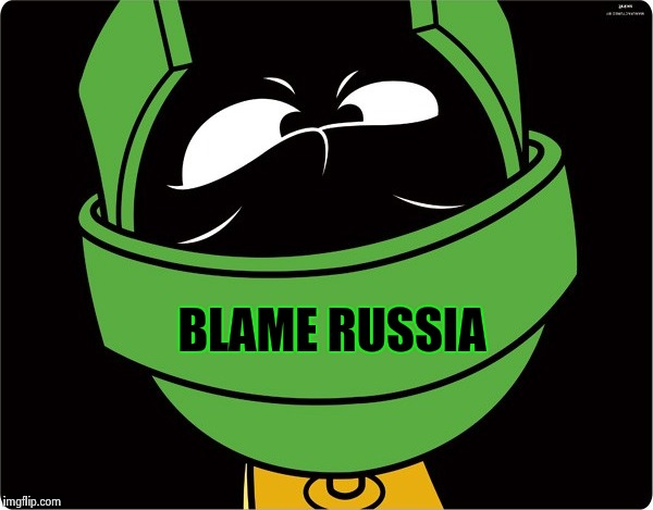 Marvin the Martian | BLAME RUSSIA | image tagged in marvin the martian | made w/ Imgflip meme maker
