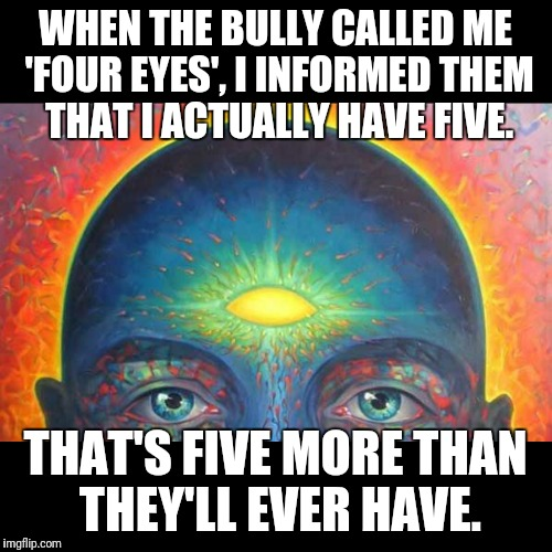 WHEN THE BULLY CALLED ME 'FOUR EYES', I INFORMED THEM THAT I ACTUALLY HAVE FIVE. THAT'S FIVE MORE THAN THEY'LL EVER HAVE. | image tagged in awaken | made w/ Imgflip meme maker