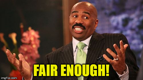 Steve Harvey Meme | FAIR ENOUGH! | image tagged in memes,steve harvey | made w/ Imgflip meme maker