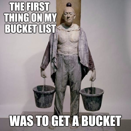 What good is a bucket list without a bucket | THE FIRST THING ON MY BUCKET LIST WAS TO GET A BUCKET | image tagged in bucket list | made w/ Imgflip meme maker