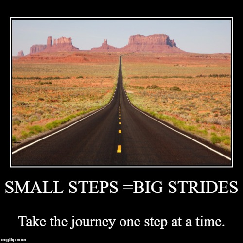 SMALL STEPS =BIG STRIDES | Take the journey one step at a time. | image tagged in funny,demotivationals | made w/ Imgflip demotivational maker