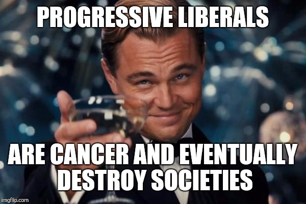 Leonardo Dicaprio Cheers Meme | PROGRESSIVE LIBERALS ARE CANCER AND EVENTUALLY DESTROY SOCIETIES | image tagged in memes,leonardo dicaprio cheers | made w/ Imgflip meme maker